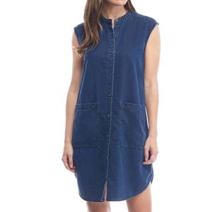 Eileen Fisher Sz XL Buttondown Jean Dress EUC